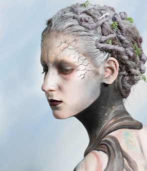 A model with fantasy style hair and make-up