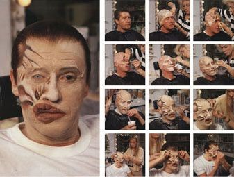 An image showing the lengthy process of applying the prosthetic make-up for the phantom in The Phantom of The Opera