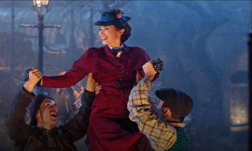 Emily Blunt starring as Mary Poppins, being lifted by two actors