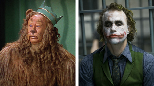 Split image showing the cowardly lion from The Wizard of Oz with a foam latex mask and the Joker on the right with stamped silicone pieces to create the scarred effect