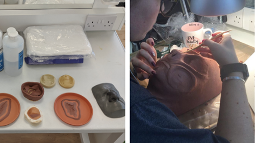 Flat moulds made from chavant clay to create prosthetics make up, make-up artist sculpting chavant clay on a lifecast